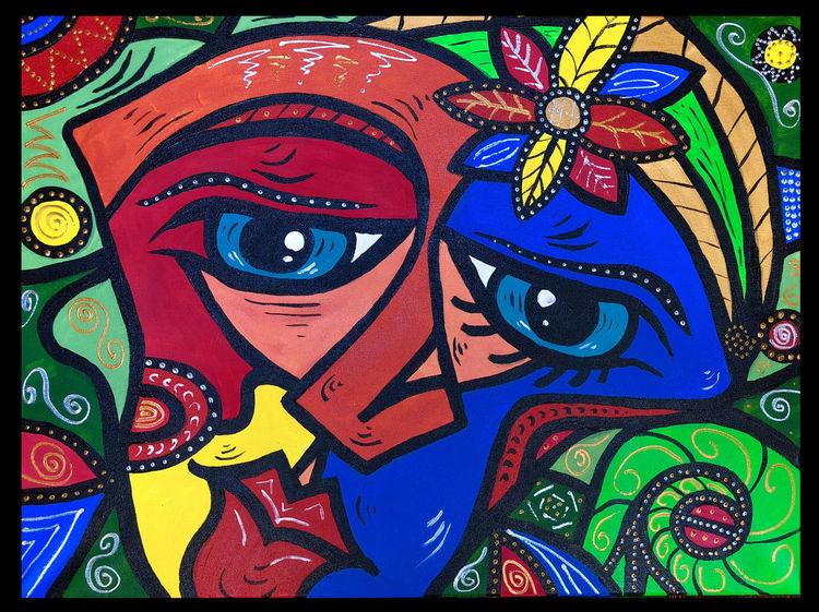 Frau, Malerei, Mann, Gesicht, Abstrakt