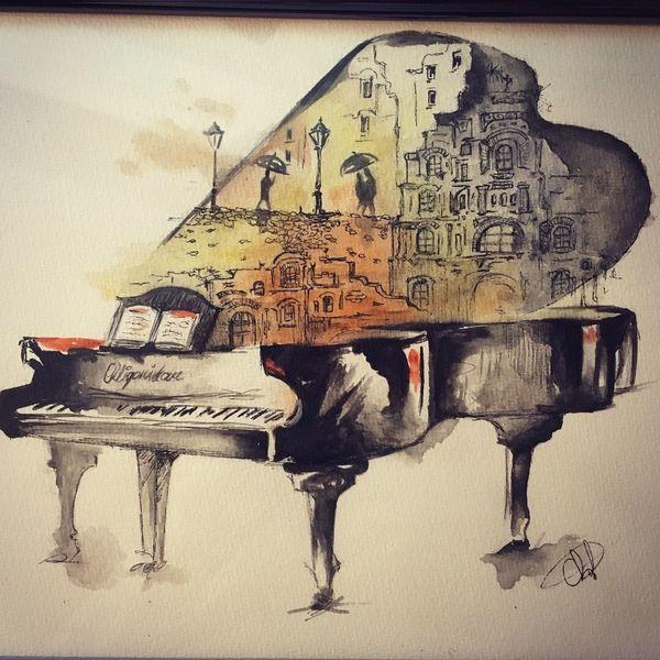 Flügel, Klavier, Stadt, Aquarell, Musik