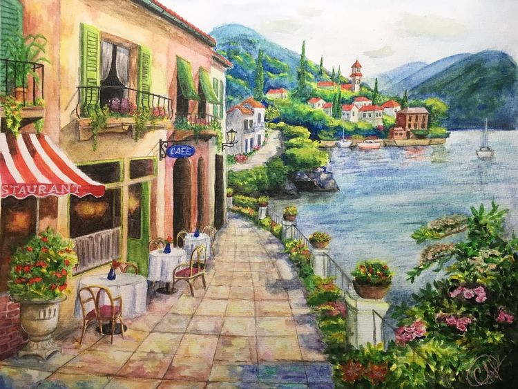 Café, Blumen, Toskana, Aquarellmalerei, Promenade, Sommer