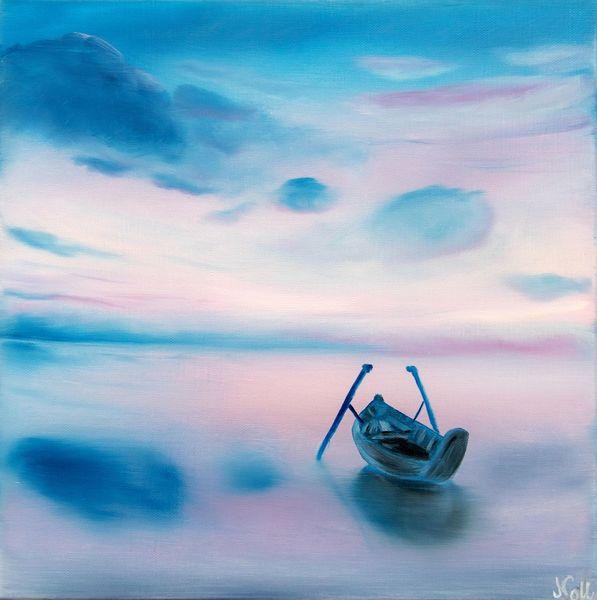 Himmel, Traumhaft, Boot, Ozean, Sonnenuntergang, Lila
