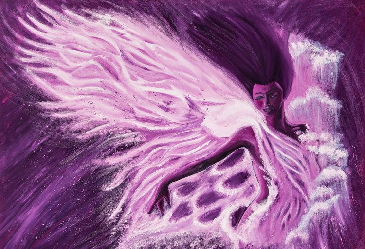 Flügel, Lila, Frau, Traum, Haare, Fantasie