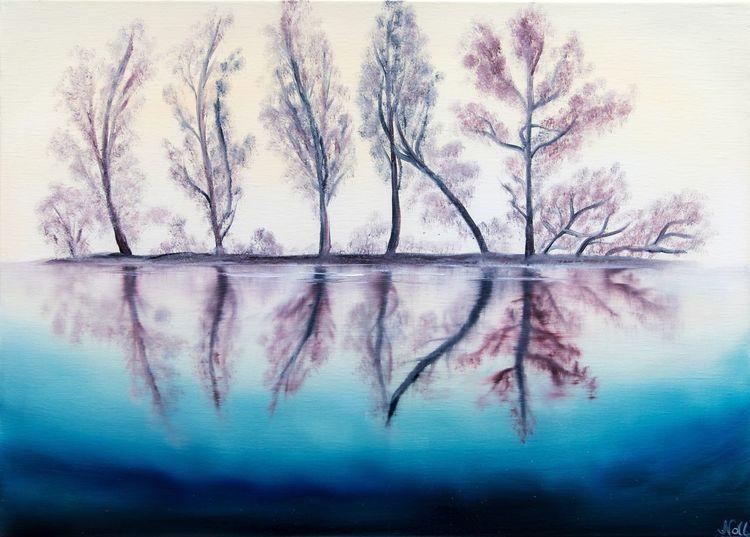 See, Spiegelung, Landschaft, Verträumt, Baum, Malerei