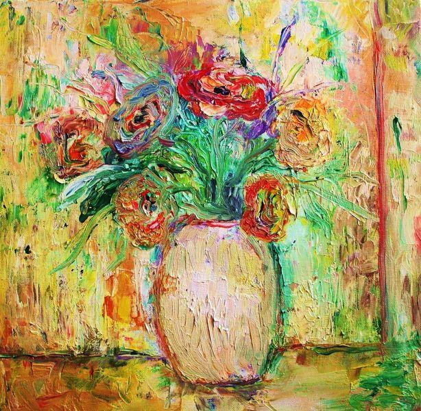 Blumen, Vase, Pastellmalerei, Bunt, Malerei