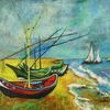 Natur, Fischerboote am strand, Malerei, Meer
