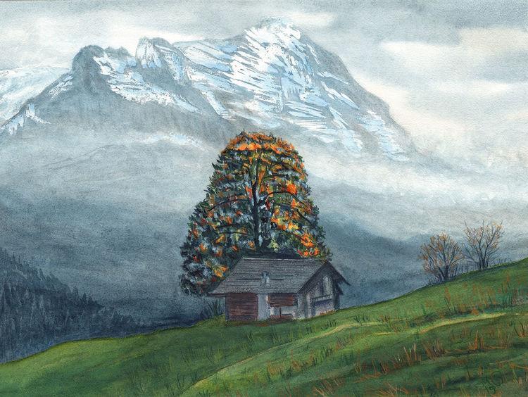 Grindelwald, Aquarellmalerei, Alpen, Aquarell, Herbst