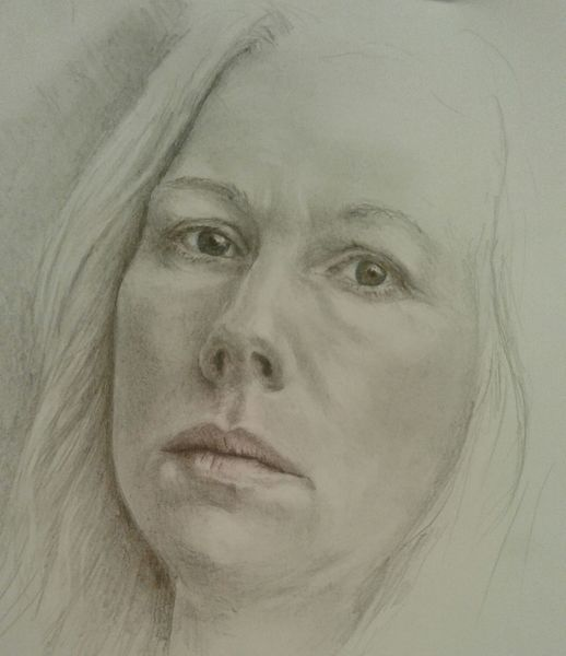 Spiegel, Bleistiftzeichnung, Selbstportrait, Zeichnungen, Blick
