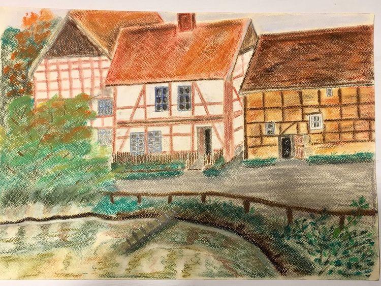 Teich, Haus, Pastellmalerei, Malerei