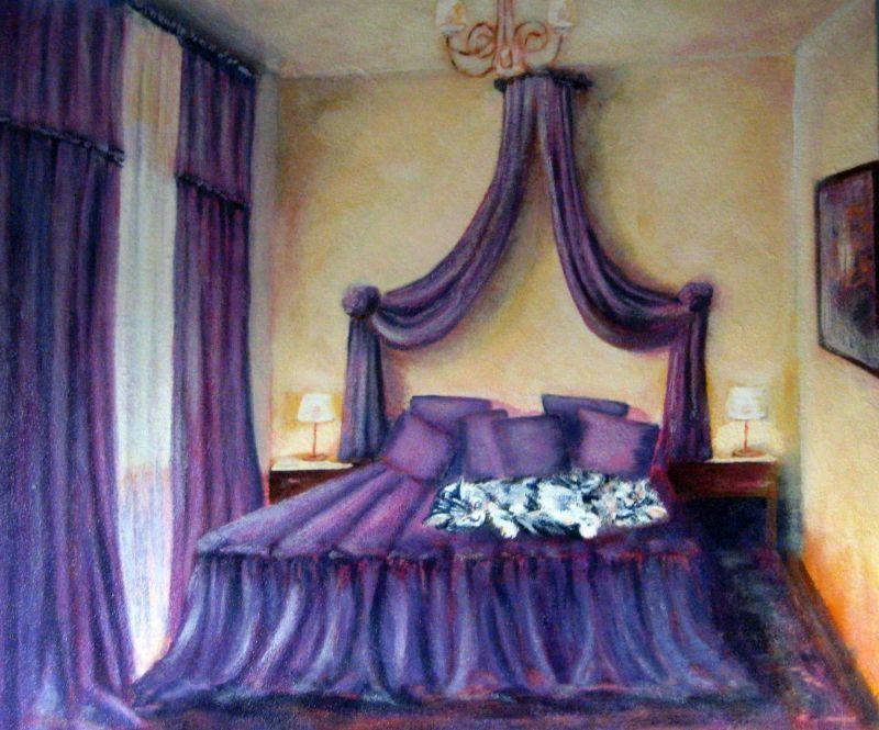 Sonnig, Müde, Malerei, Schlafzimmer,