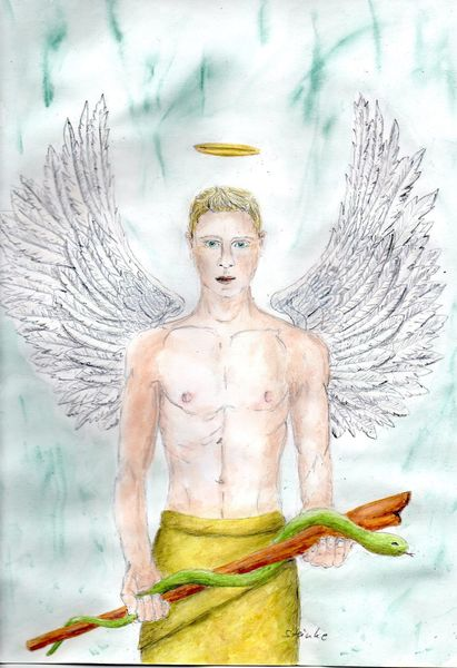 Engel, Stärke, Raphael, Fantasie, Aquarellmalerei, Erzengel