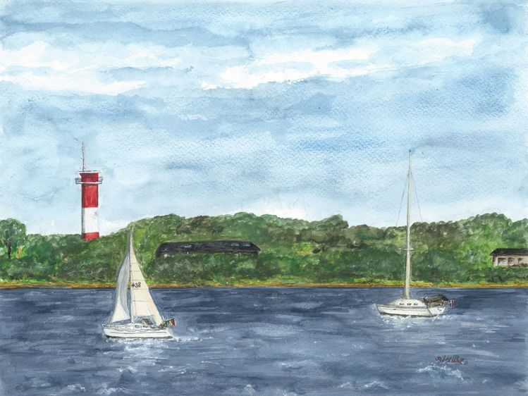 Landschaft, Strand, Küste, Holnis, Aquarellmalerei, Landschaftsmalerei