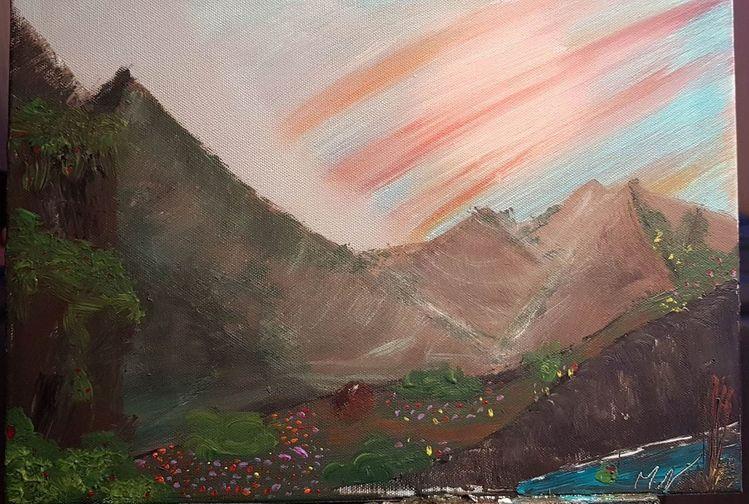 Natur, Tag, Grün, Berge, Malerei, Landschaft