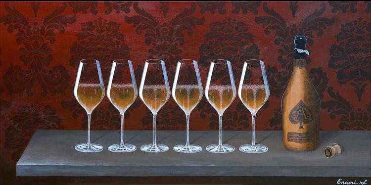 Weinflasche, Sekt, Luxus, Stillleben, Gold, Schaumwein