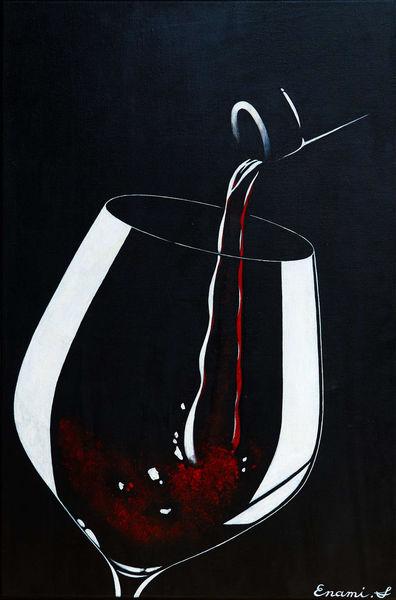 Rotwein, Acrylmalerei, Wein, Weinglas, Schwarz, Malerei