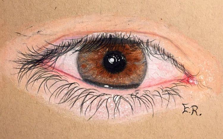 Augen, Zeichnung, Grau, Braun, Zeichnungen