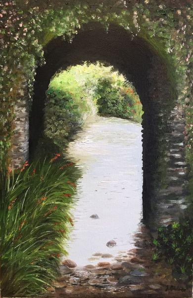 Flussbett, Irland, Bach, Brücke, Montbretien, Malerei