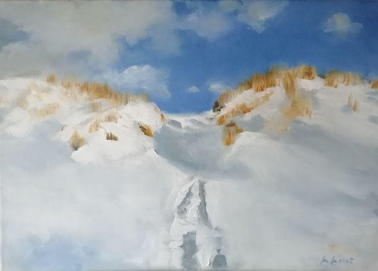 Himmel, Schnee, Wolken, Schattenhiddensee, Ostsee, Malerei