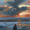 Meer, Schatten, Ölmalerei, Sonnenuntergang