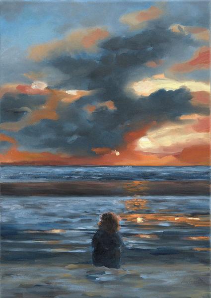 Langeoog, Wolken, Abend, Licht, Landschaftsmalerei, Meer