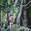Junge, Faun, Baum, Wald