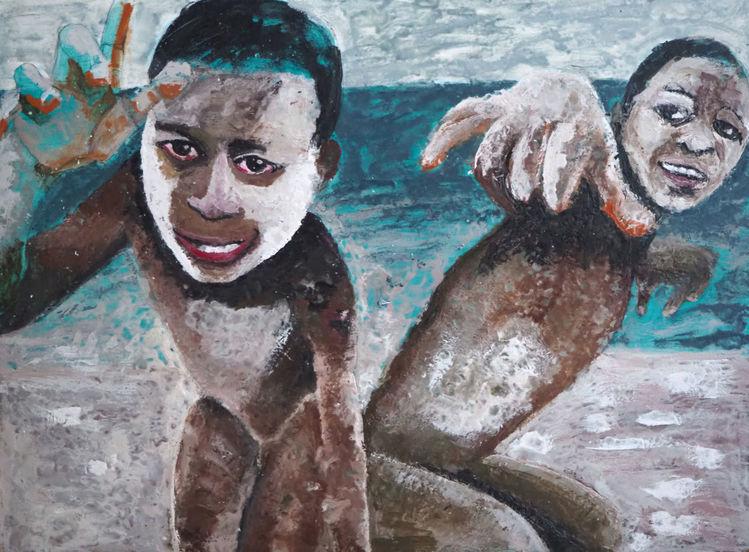 Jungs, Strand, Menschen, Malerei