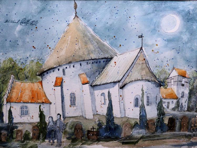 Dänemark, Kirche, Ostseeraum, Bornholm, Aquarellmalerei, Aquarell
