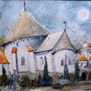 Bornholm, Ostseeraum, Aquarellmalerei, Kirche