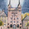 Deutschland, Westfale, Kloster, Aquarellmalerei