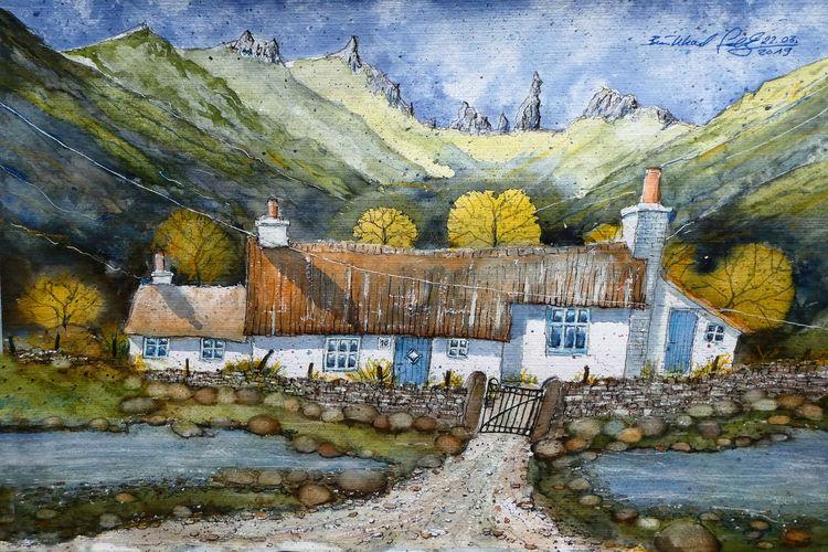 Isle of skye, Aquarellmalerei, Storr, Highlands, Schottland, Alt