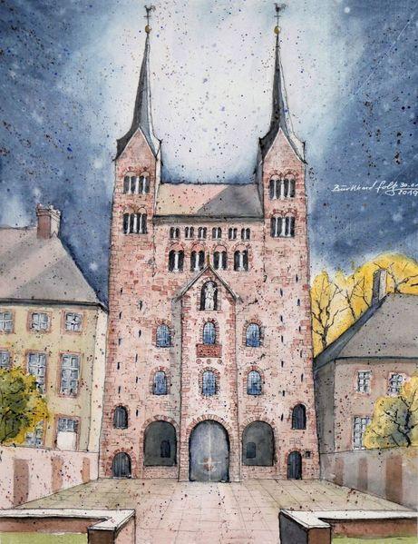 Kloster, Aquarellmalerei, Geschichte, Architektur, Kirche, Weserbergland