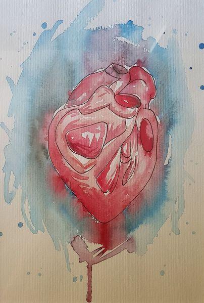 Medizin, Blau, Herz, Aquarell