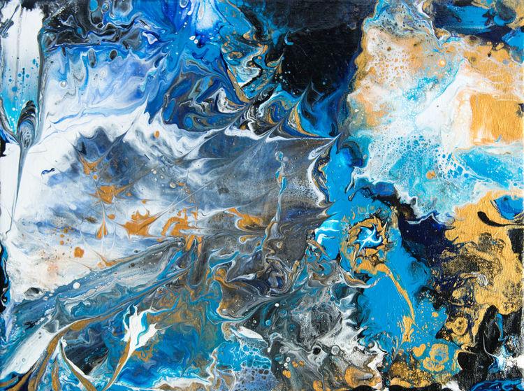Abstrakt, Gold, Blau, Weiß, Malerei