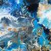 Weiß, Abstrakt, Gold, Blau
