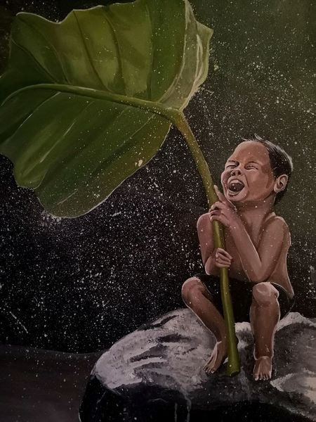Lachen, Natur, Acrylmalerei, Helfen, Kind, Landschaft