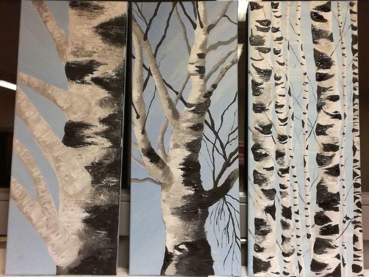 Himmel, Spachteltechnik, Birken, Malerei, Triptychon