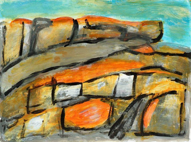 Abstrakt, Schwarz, Landschaft, Blau, Mischtechnik, Licht
