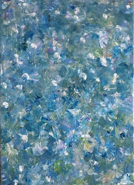Blau, Blumen, Lila, Malerei