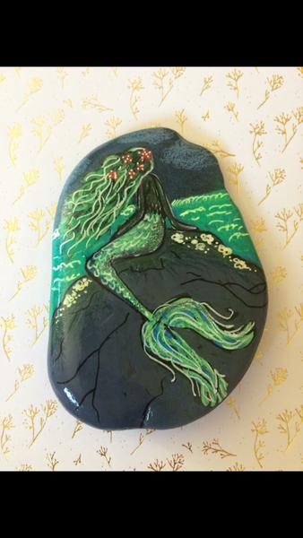 Meerjungfrau, Stein, Zeichenstift, Acrylmalerei, Malerei