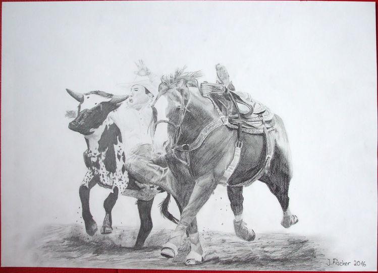 Rodeo, Cowboy, Zeichnung, Rind, Pferde, Zeichnungen
