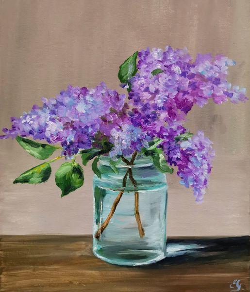 Blumen, Ölfarben, Flieder, Malerei