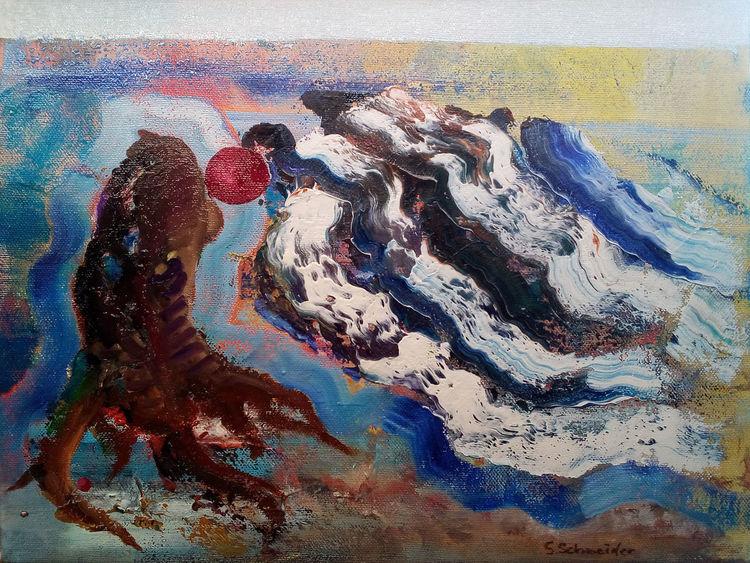 Baum, Welle, Wasser, Abstrakt, Malerei