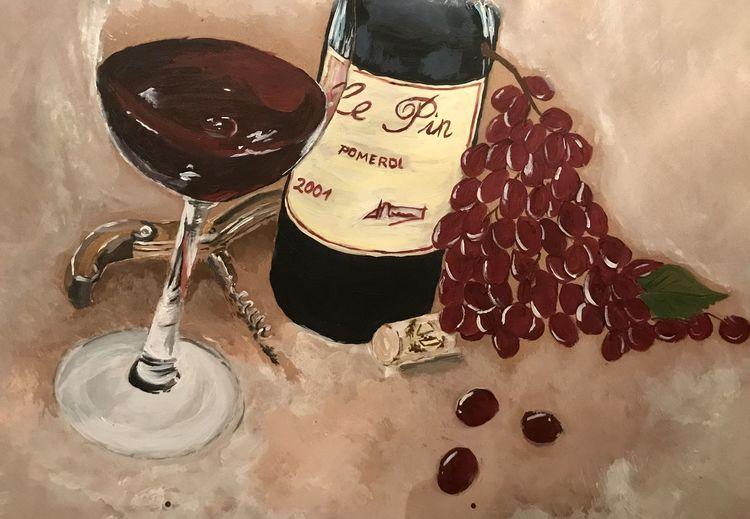 Stillleben, Acrylmalerei, Wein, Weintrauben, Farben, Holz