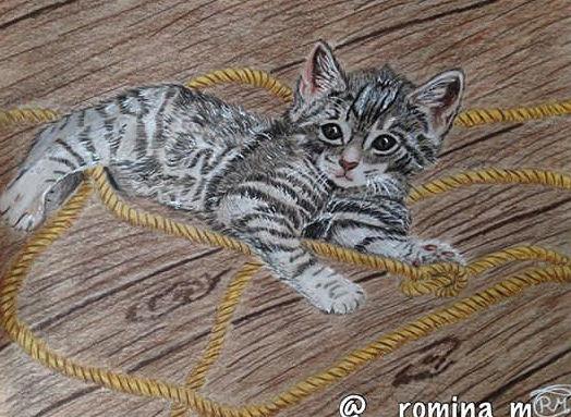 Babykatze, Tiere, Portrait, Seil, Zeichnung, Streifen