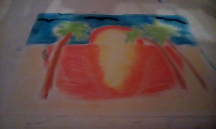 Depression, Malerei, Modern, Zeichnungen, Sonnenuntergang