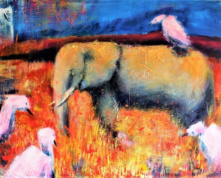 Wild, Afrika, Tiere, Landschaft, Natur, Malerei