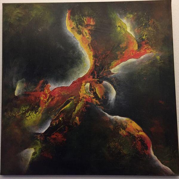 Orange, Abstrakt, Lichteffekte, Acrylmalerei, Malerei acryl, Malerei modern
