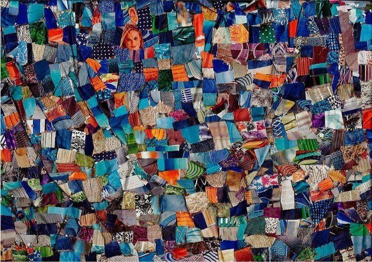 Musik, Collage, Blau, Mischtechnik