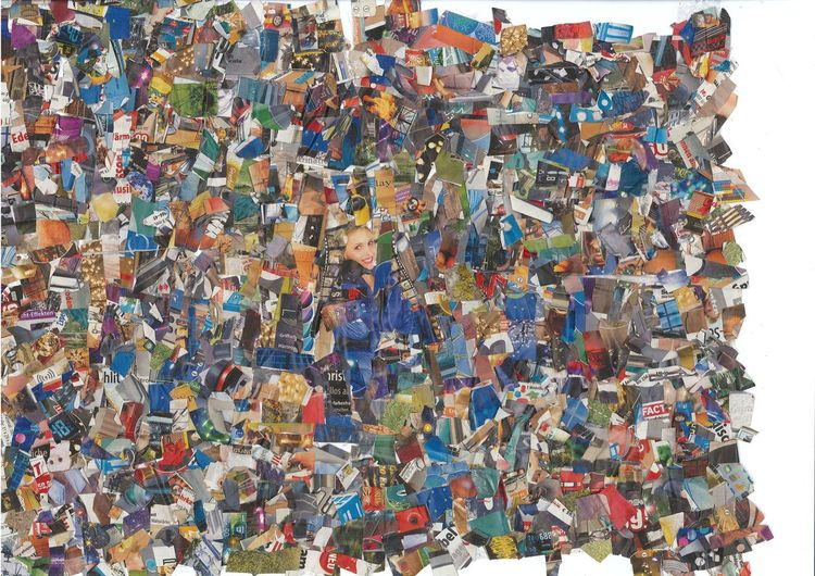 Farben, Blau, Collage, Bunt, Mischtechnik