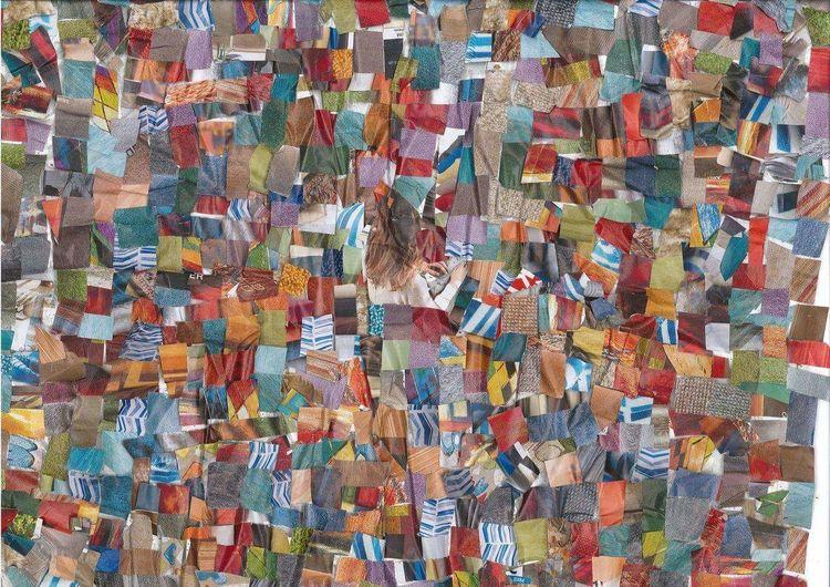 Bunt, Farben, Collage, Mischtechnik, Herz, Hand
