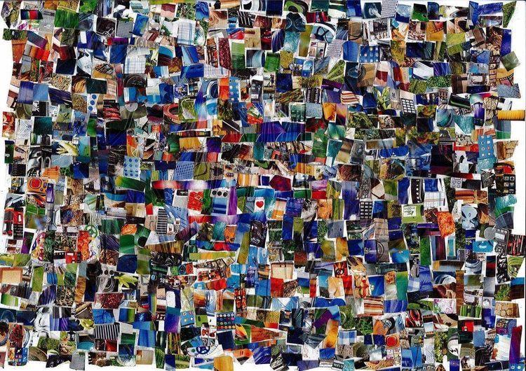 Collage, Bunt, Farben, Mischtechnik, Herz