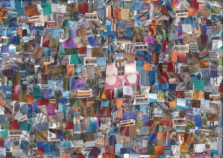 Collage, Bunt, Farben, Mischtechnik, Licht
